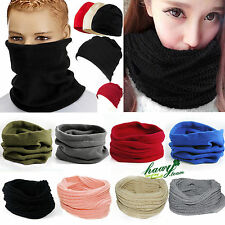 Women Winter Warm Infinity Circle Cable Knit Beanie Hat Ski Long Scarf Shawl US