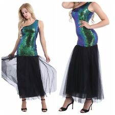 Women One Shoulder Vintage 60s Sequins Long Mermaid Dance Dress Evening Party