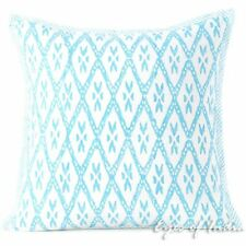 Blue Block Print Throw Couch Sofa Decorative Pillow Cushion Cover Boho Indian Bo