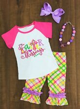 Boutique Toddler Girl's Kids Easter Blessings Plaid Top Capri Pants Outfit Set