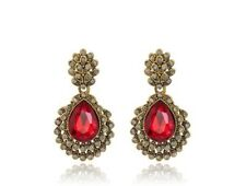 Crystal Red and White Vintage Earrings