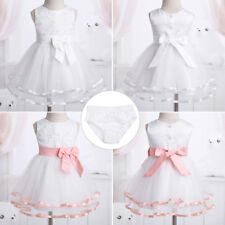 Lace Flower Baby Girls Pageant Wedding Party Christening Princess Tutu Dress Kid