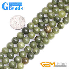Natural Gemstone Round Green Canada Jade Loose Spacer Beads for Jewelry Making