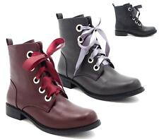 WOMENS LADIES LOW HEEL MILITARY LACE UP ZIP ARMY COMBAT BIKER ANKLE BOOTS SIZE