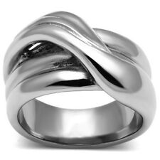 Ladies Unique New Stainless Steel 3 Band Wrap Ring Sizes 5-10
