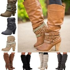 Ladies Studded Ankle Boots Block Heel Mid-Calf Boots Buckle Belted Pull On Shoes