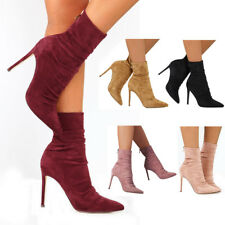 Womens Stiletto High Heel Tight Ankle Boots Ladies Zipper Boot Shoes Size UK 3-7