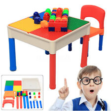 Kids Child Tot Tutors 2 in 1 Building Blocks Construction Table and Chairs Set