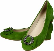 Dirndl Shoes Greta Traditional Court Kiwi Indoor Outdoor Leather Hand Made