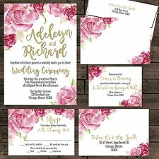 Watercolor Roses Burgundy Gold Wedding Invitation Set Custom RSVP Envelope