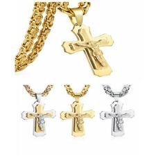 Mens Stainless Steel Gold Silver Cuban Christ Jesus Cross Pendant Necklace Chain