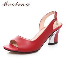 Meotina Genuine Leather Shoes Women Sandals Peep Toe High Heels Real Leather San
