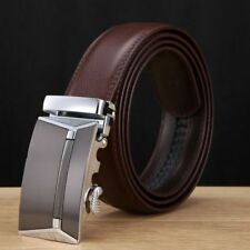 New Men Gold Silver Automatic Buckle Genuine Leather Waist Strap Belt Waistband