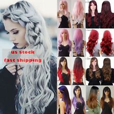USA Women Full Wig Long Curly Wave Straight Ombre Synthetic Hair Costume Cosplay