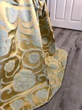 FABRIC SAMPLE - Harlequin Duck Egg/Teal & Gold Silk Mix Damask MTM Curtains