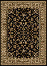 Black Vines Scroll Blossoms Floral Traditional-European Area Rug Bordered 1833