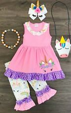 Boutique Toddler Girl Pink Purple Unicorn Ruffle Top Capri Pants Birthday Outfit
