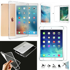 Apple iPad AIR 5 4 3 2 MINI PRO CLEAR Gel Case Cover+TEMPERED GLASS Protector
