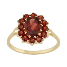 9ct Yellow Gold 2.00ct Natural Garnet Classic Oval Cluster Style Ring