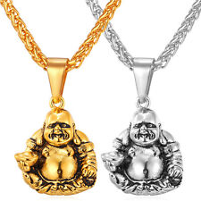 Stainless Steel Maitreya Buddha Pendant Necklaces 18K Gold Plated Mens Jewelry