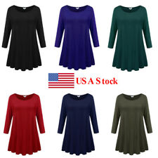 Womens Fashion Dress Winter 3/4 Sleeve Tunic Soild Plus Size Casual T Shirt Tops