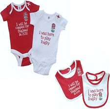 ENGLAND RFU SIX NATIONS RUGBY BABIES BODY PRAM SUIT SHORT SLEEVE BABY GROW VESTS