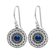 925 Sterling Silver Ethnic Round Earrings