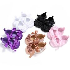 Newborn Infant Baby Girl Soft Sole Crib Shoes Bow-knot Floral Princess Prewalker