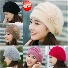 New Fashion Womens Flower Knit Crochet Beanie Hat Winter Warm Cap Beret Hot Hat