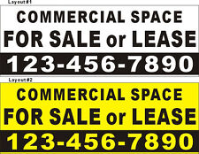 3ftX8ft Custom Printed COMMERCIAL SPACE FOR SALE or LEASE Banner W/ Your Phone #