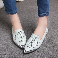 NEW Womens Flat Heels Shoes Block Hollow Out Rhinestone Pumps AU Size YD4732