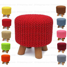 Handmade Knitted Round Pouffe Padded Footstool Ottoman Cushion Foot Stool Chair
