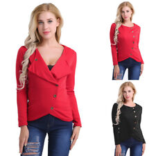Women Girls Long Sleeve Irregular Slim Tops Soft Balzer Jacket Coat Sweatshirt