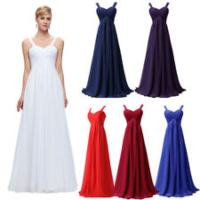 Women Long Chiffon Bridesmaid Empire Waist Evening Party Cocktail Ball Prom Gown