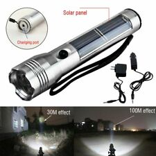 Super Bright Solar Powered Rechargeable LED Flashlight Torch Camping Hunting