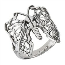 New .925 Sterling Silver Wirework Filigree Butterfly Ring - Sizes 7-10