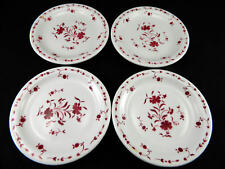 (4) Vtg Sterling Vitrified China USA Red Airbrush Floral Restaurant Ware Plates