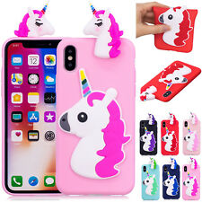 3D Unicorn Soft Silicone Rubber Back Case Cover for iPhone X/7/6/8 plus/6s/5s