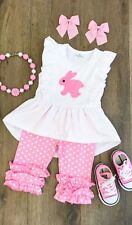 Boutique Toddler Girl Pink White Easter Bunny Spring Summer Ruffle Capri Outfit