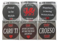 Welsh Slate Coasters - Welsh Dragon, Proud To Be Welsh, Croeso, Anthem and more