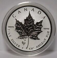 2013 $5 Silver 1 oz. Canada Maple Leaf Snake Privy *REVERSE PROOF* Bullion Coin