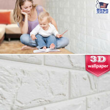 Popular 3D Wallpaper Home Mural Roll Modern Stone White Brick Wall Textured PE