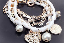 Hot Sale Gold Heart Pearl Weave Crystal Pretty Bracelet Cuff Jewelry For Gift