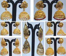 Earrings Indian Fashionable Bollywood Designer Drop Dangler Red Stone Jhumka Set