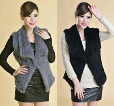 100% Real Casual Thick Vests Genuine Knitted Rabbit Fur Gilet Waistcoat Women