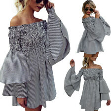 Women Summer Off Shoulder Top Stripe Party Casual Long Sleeve Mini Short Dress