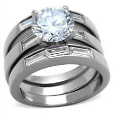 1436PB SOLITAIRE STAINLESS STEEL SIMULATED DIAMOND WEDDING ENGAGEMENT SET RING