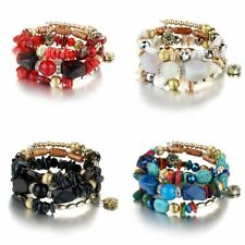 Fashion Multilayer Natural Stone Agate Bead Bracelet Bangle Lady Jewellery Gift