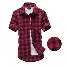 Men Shirts Short Sleeve Chemise Homme Mens Checkered Casual Shirts New Hot Item