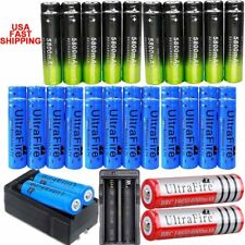 100Pcs 18650 3.7V Rechargeable Li-ion Battery +Charger For Torch Flashlight _